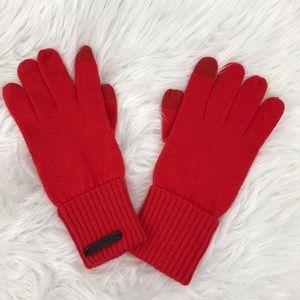 COACH Knit Orange Tech Gloves sz M/L